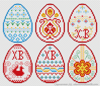 Схема вышивки крестом для пасхальных яиц 2