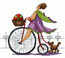 Схема для вышивки крестом «Дама на велосипеде и с собачкой»