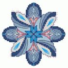Синие ракушки, схема для вышивки бискорню