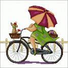 Схема для вышивки крестом «Дама в салатовом и с зонтиком, на велосипеде и с собачкой»