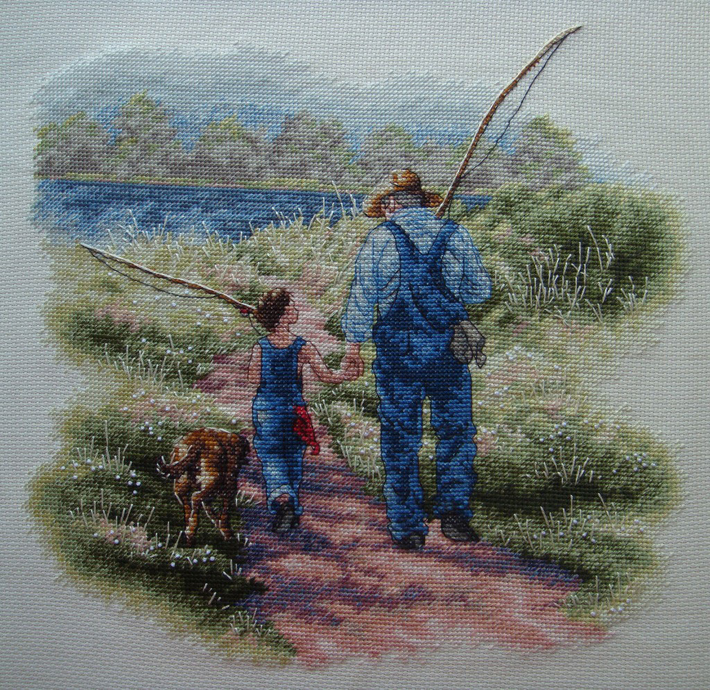 Рыбалка с друзьями вышивка 47